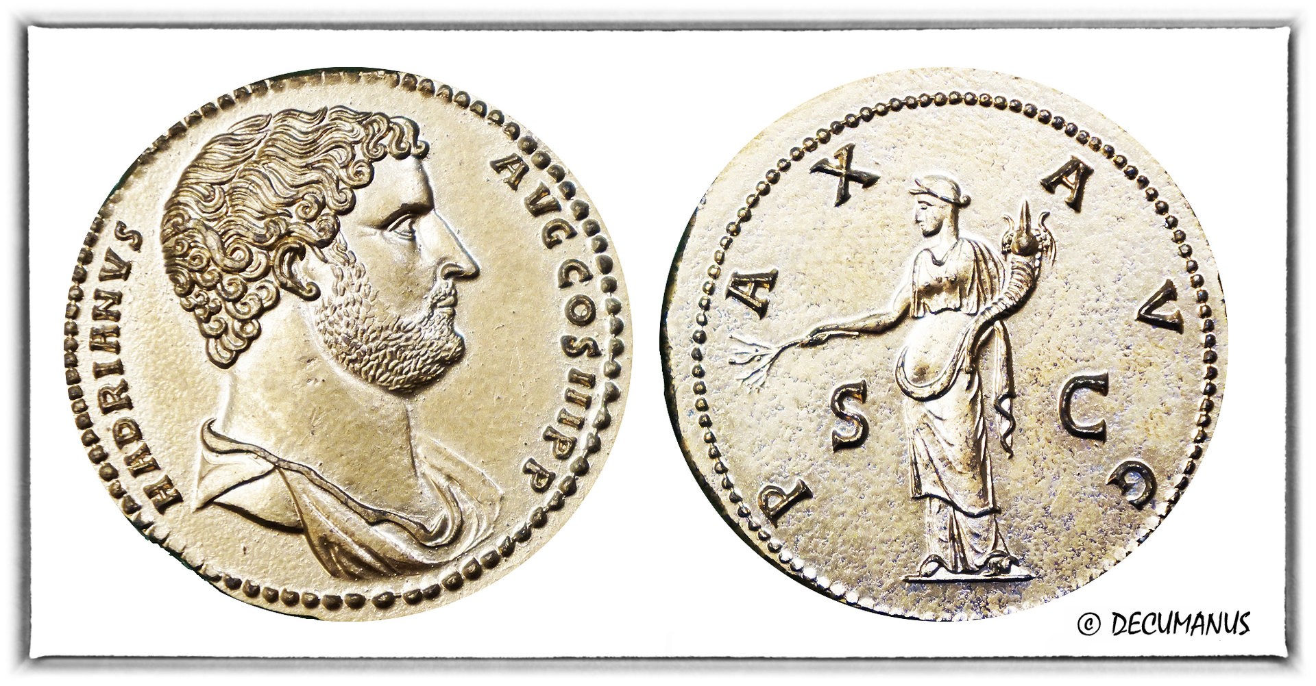 SESTERCE OF HADRIAN WITH THE PAX AVG - REPRODUCTION