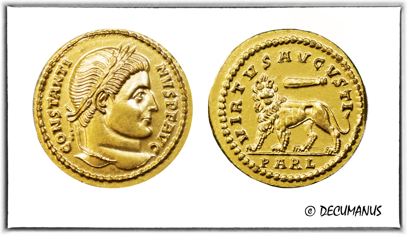 SOLIDUS OF CONSTANTINE THE GREAT WITH THE LION - REPRODUCTION
