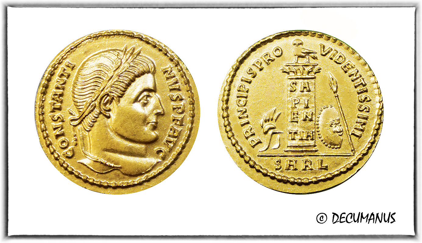 SOLIDUS OF CONSTANTINE THE GREAT WITH THE CIPPE - REPRODUCTION