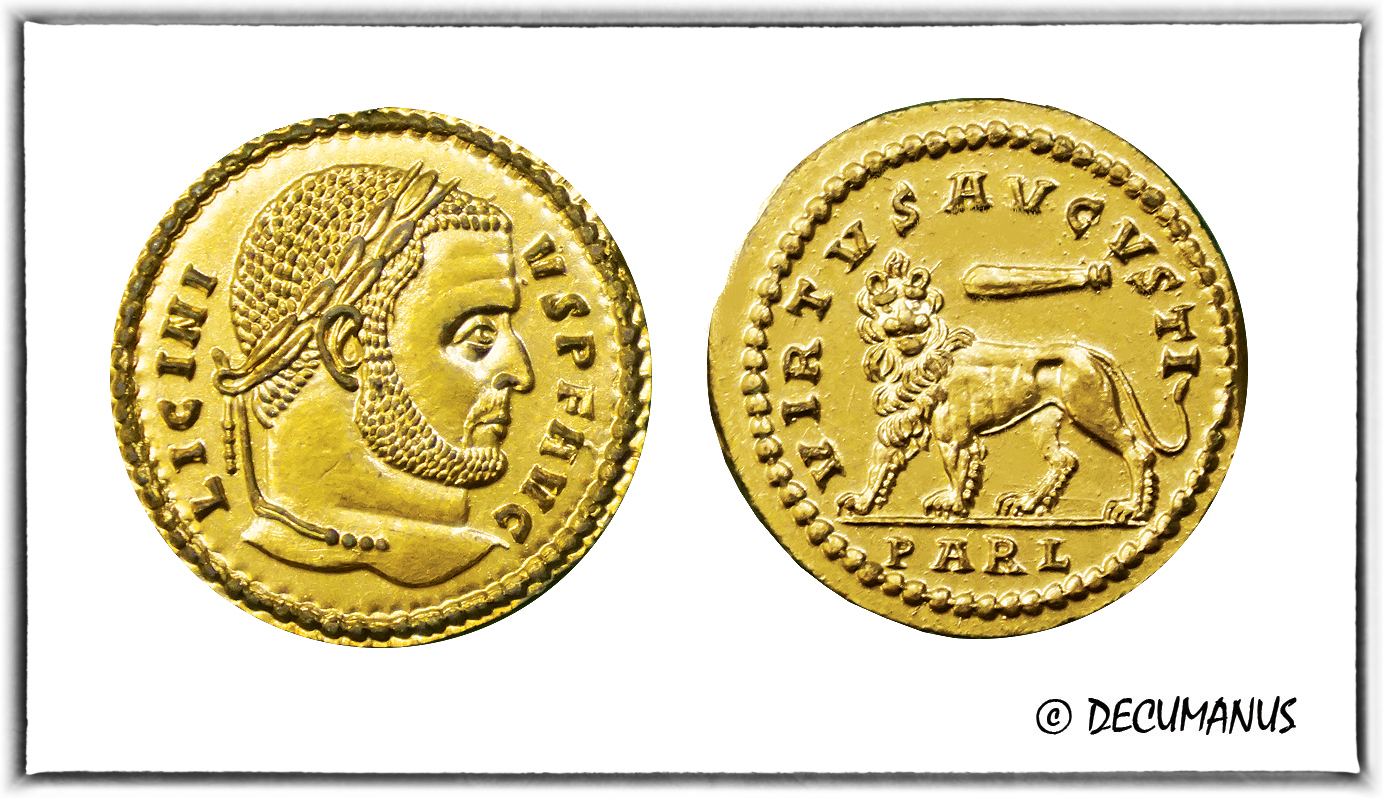 SOLIDUS OF LICINIUS I WITH THE LION - REPRODUCTION