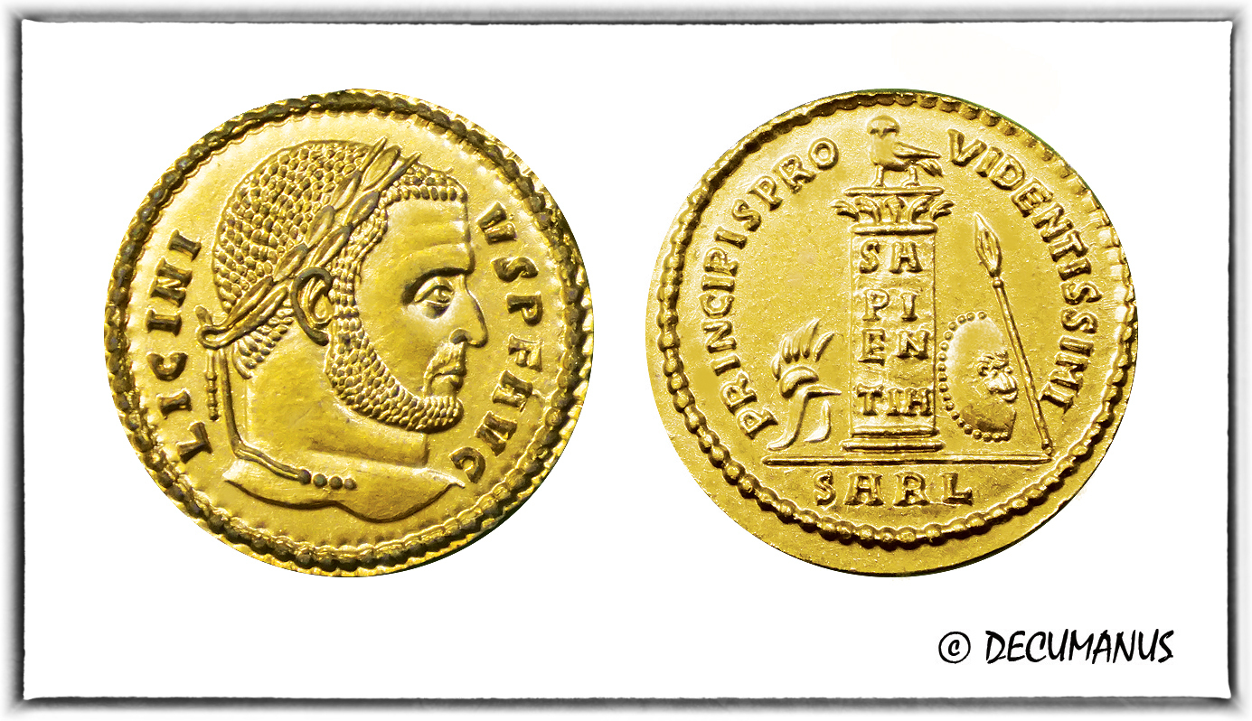 SOLIDUS OF LICINIUS I WITH THE CIPPE - REPRODUCTION