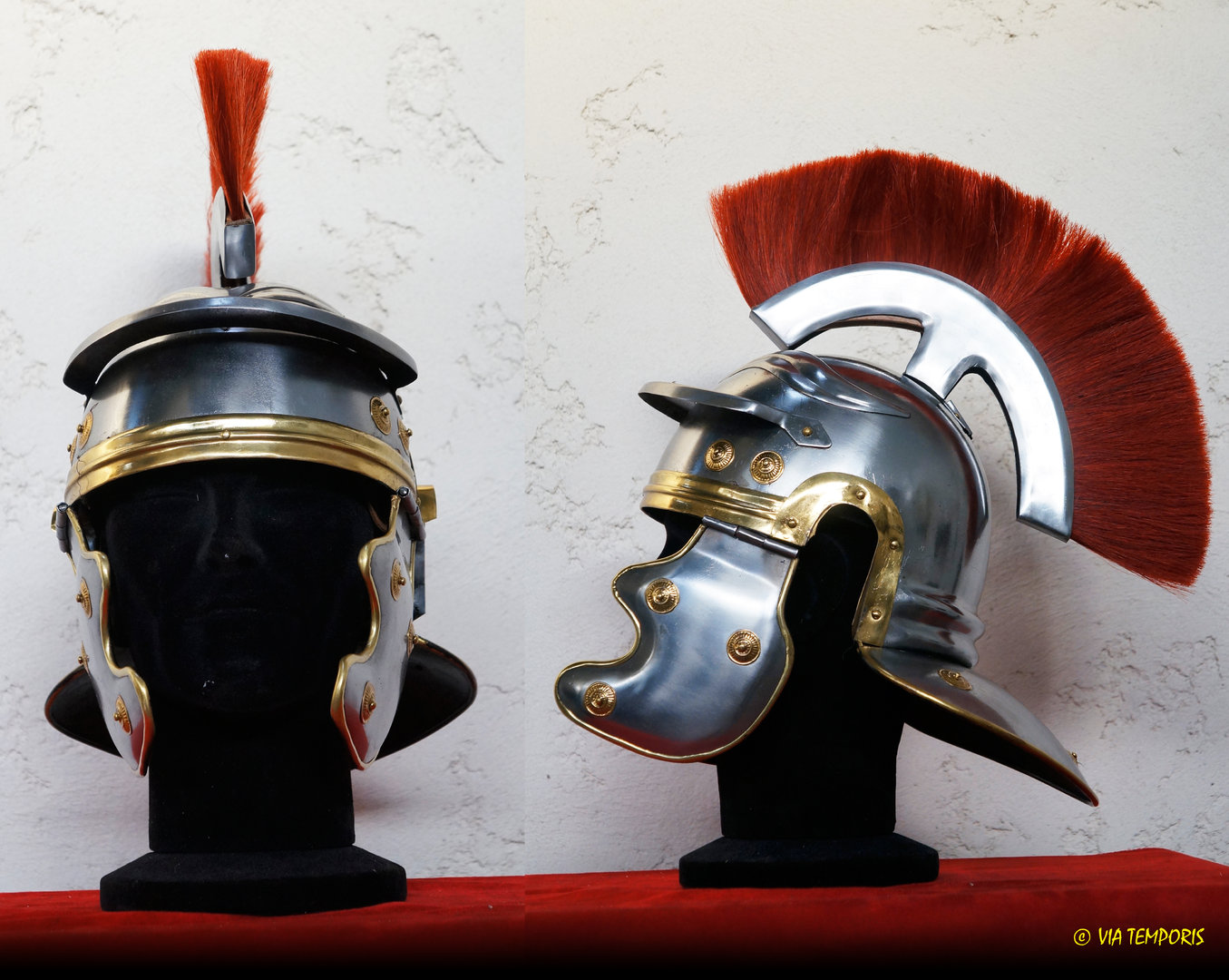 ROMAN IMPERIAL GAUL HELMET WITH RED CREST - (MODEL II)