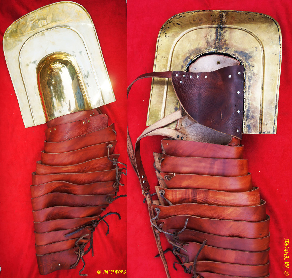 LEATHER MANICA WITH BRASS GALERUS