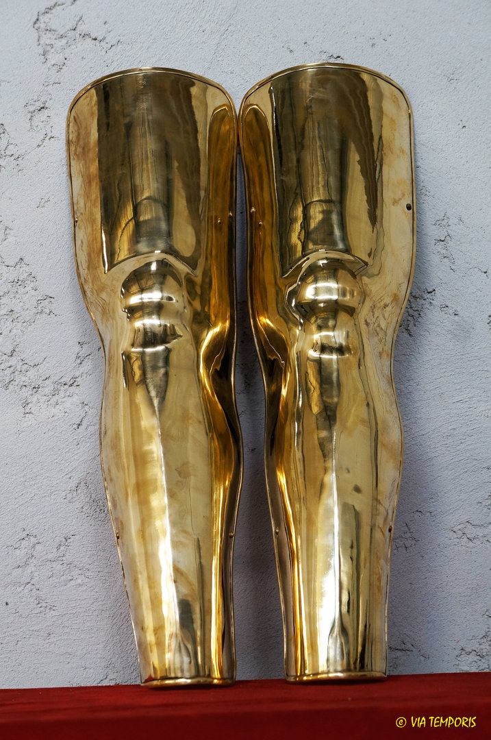 PAIR OF GREEK BRASS LEGGINGS