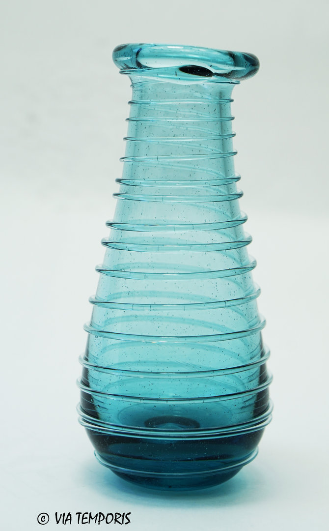 GALLO-ROMAN GLASSWARE - BALSAM BOTTLE WITH SPIRAL THREAD (turquoise blue)