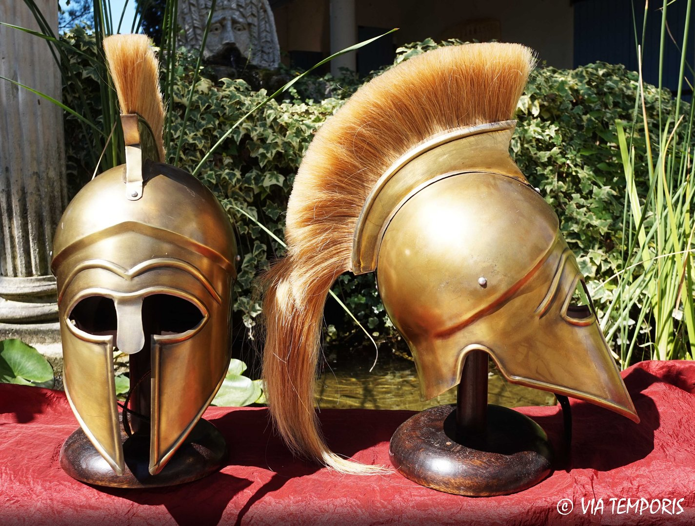 GREEK - CORINTHIAN BRASS HELMET WITH BEIGE CREST MK I