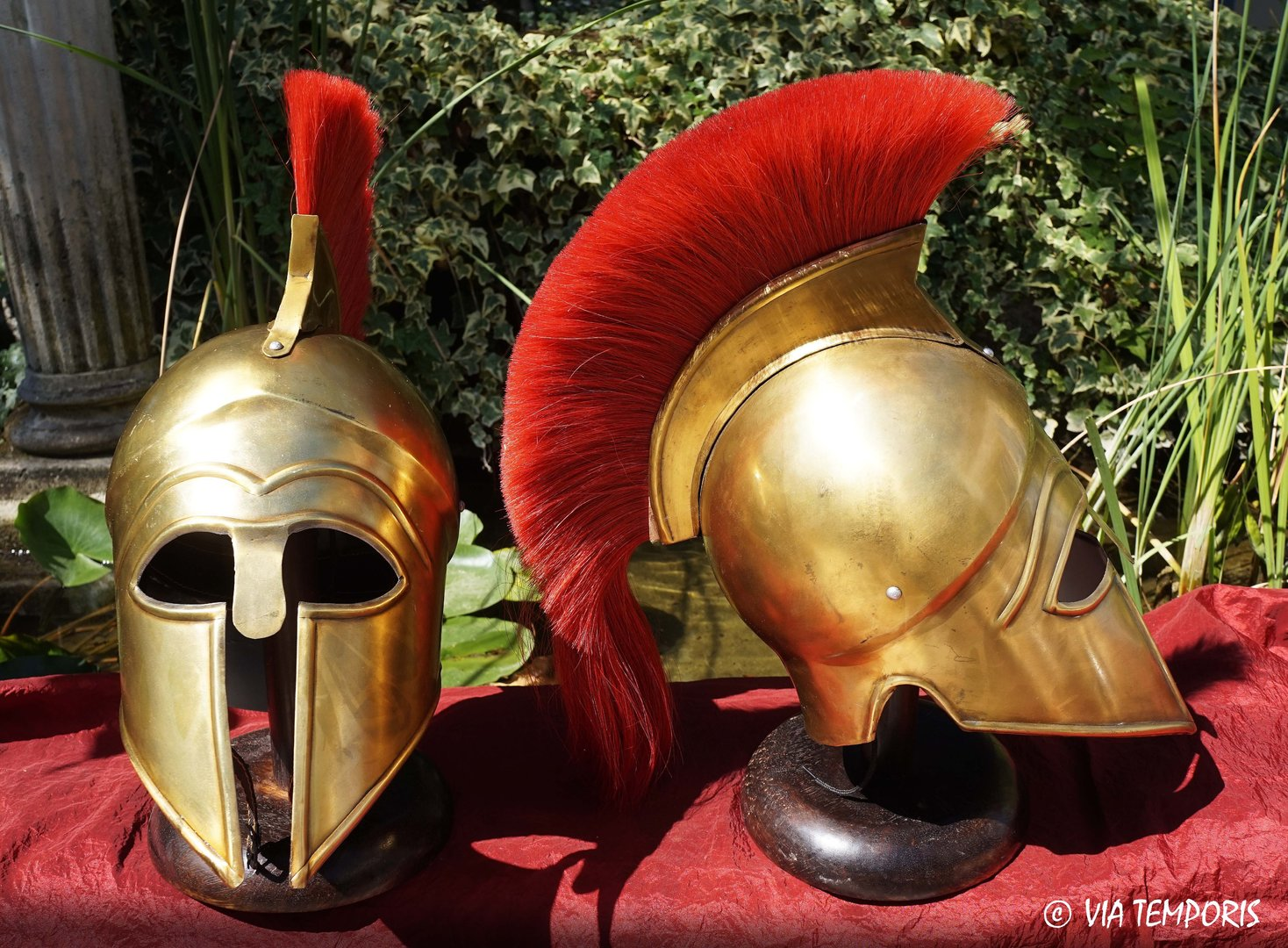 GREEK - CORINTHIAN BRASS HELMET WITH RED CREST MK I