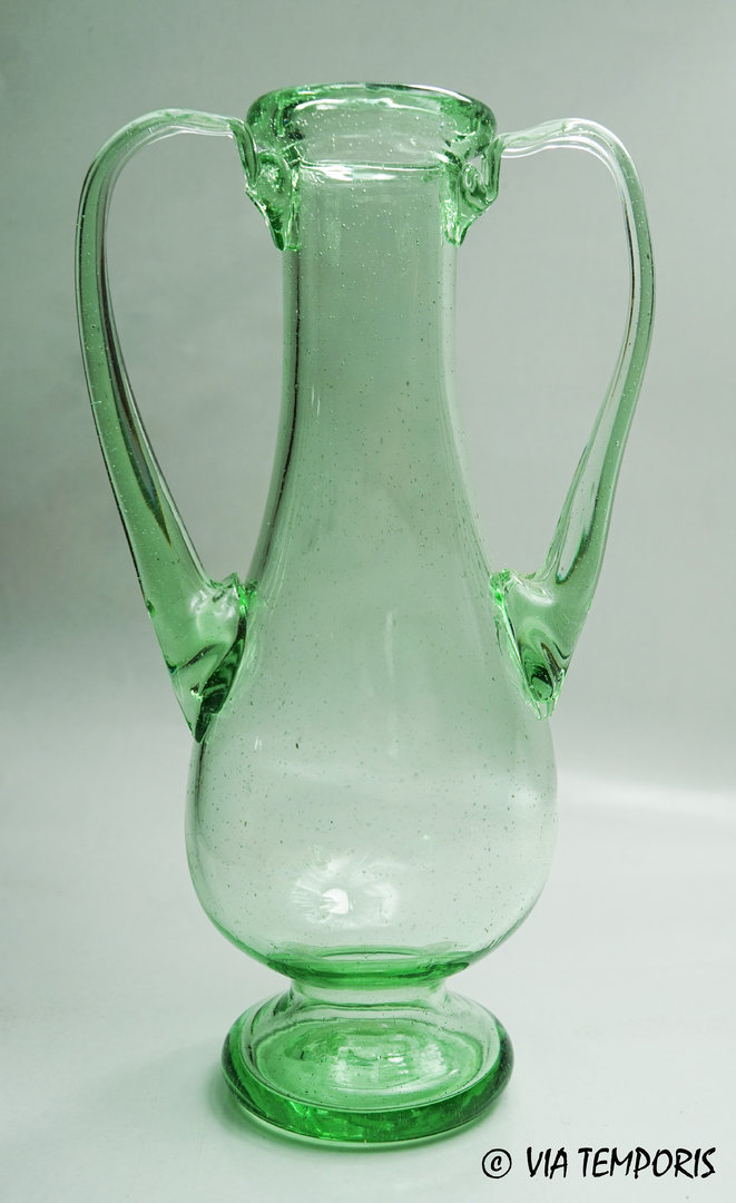 GALLO-ROMAN GLASSWARE - GREEN AMPHORA WITH TWO HANDLES
