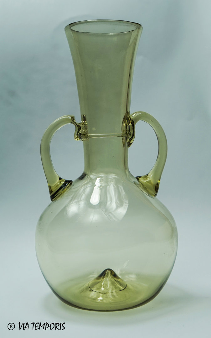 GALLO-ROMAN GLASSWARE - FLASK WITH TWO HANDLES