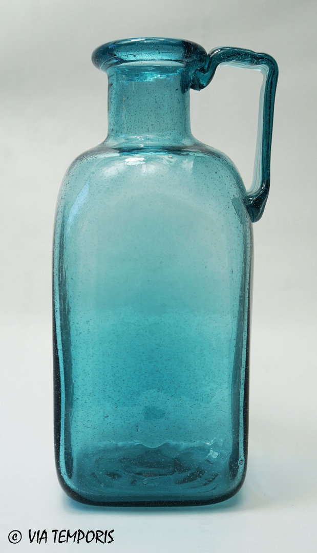 GALLO-ROMAN GLASSWARE - SQUARE BOTTLE WITH ONE HANDLE (turquoise blue)