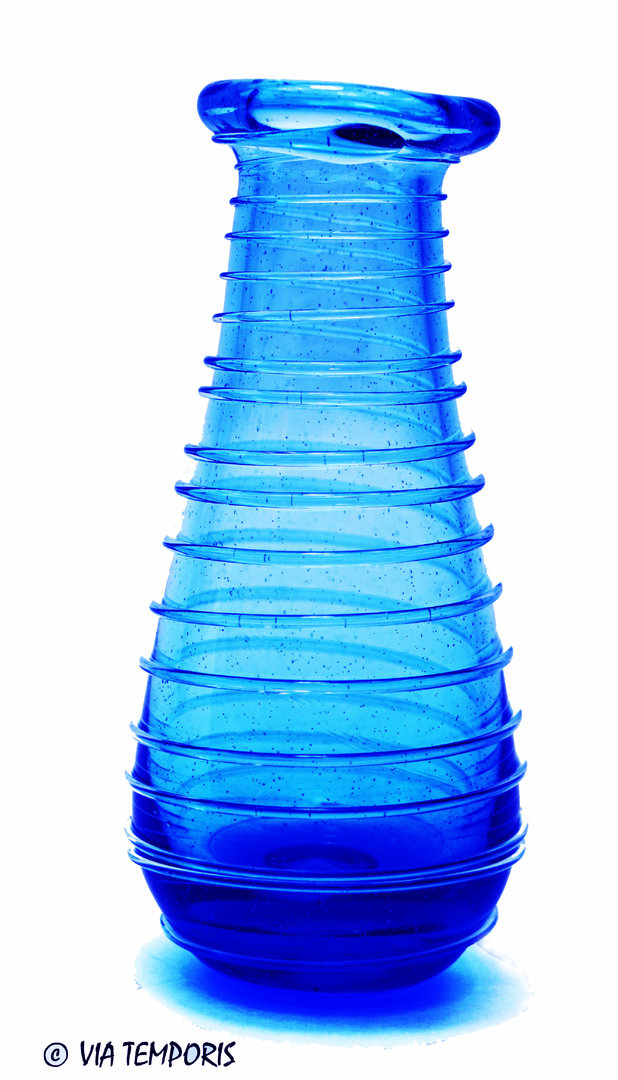 GALLO-ROMAN GLASSWARE - BALSAM BOTTLE WITH SPIRAL THREAD (royal blue)