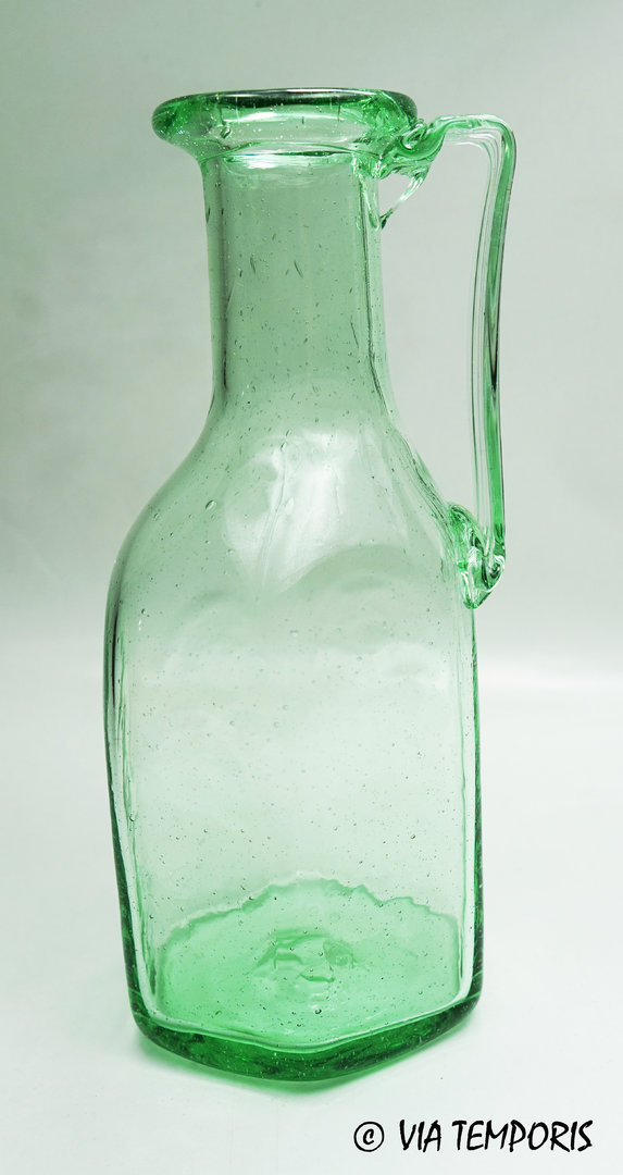 GALLO-ROMAN GLASSWARE - HEXAGONAL BOTTLE WITH ONE HANDLE (green - Mk 2)