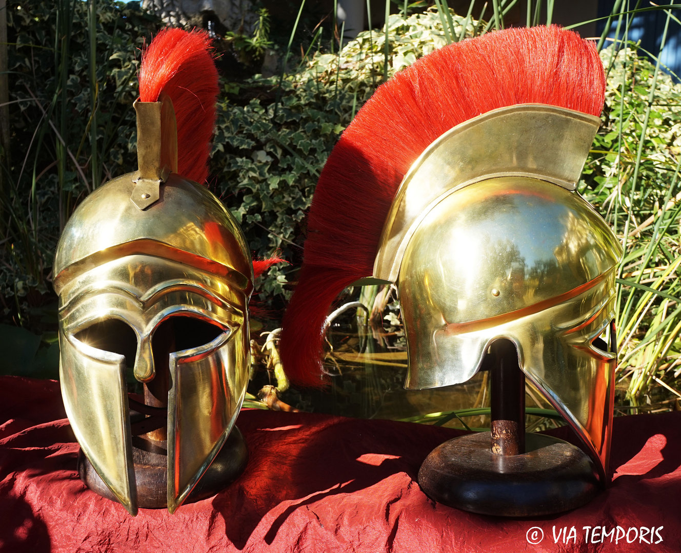 GREEK - CORINTHIAN HELMET BRASS FINISH WITH RED CREST