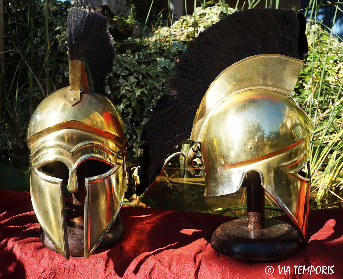 GREEK - CORINTHIAN HELMET BRASS FINISH WITH BACK CREST