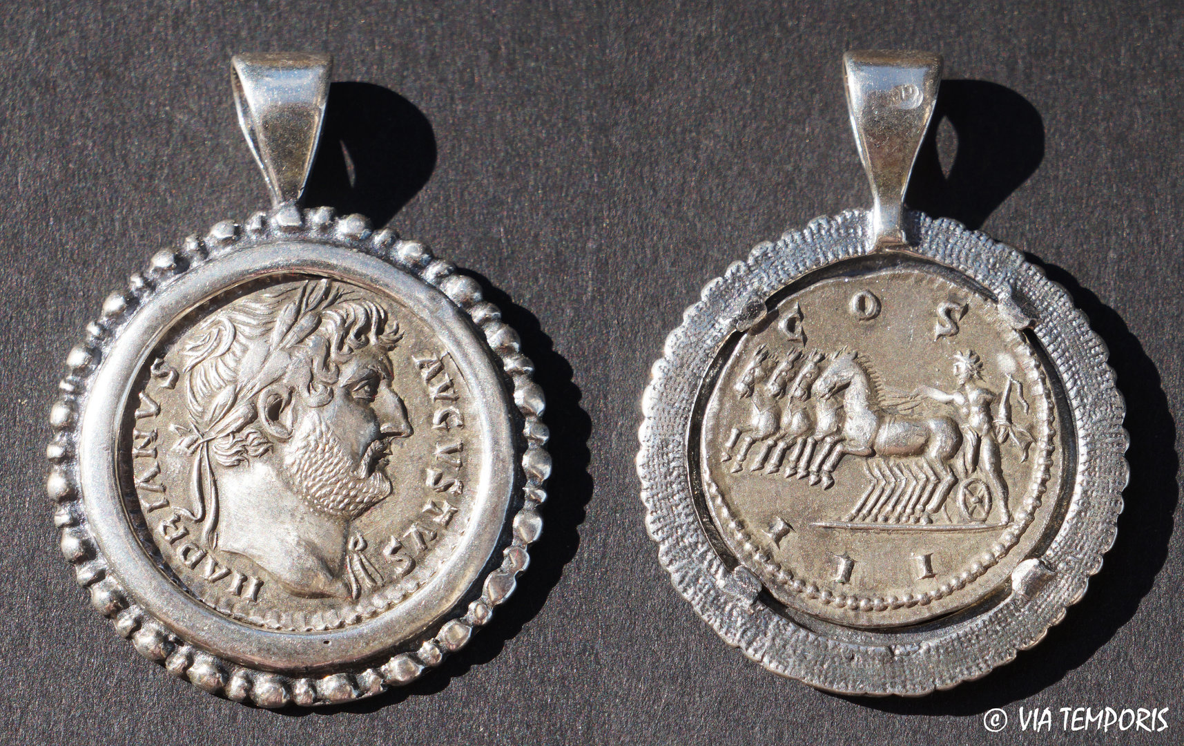 ANCIENT JEWERLY - MEDAL - COIN SILVER WITH EMPEROR HADRIEN