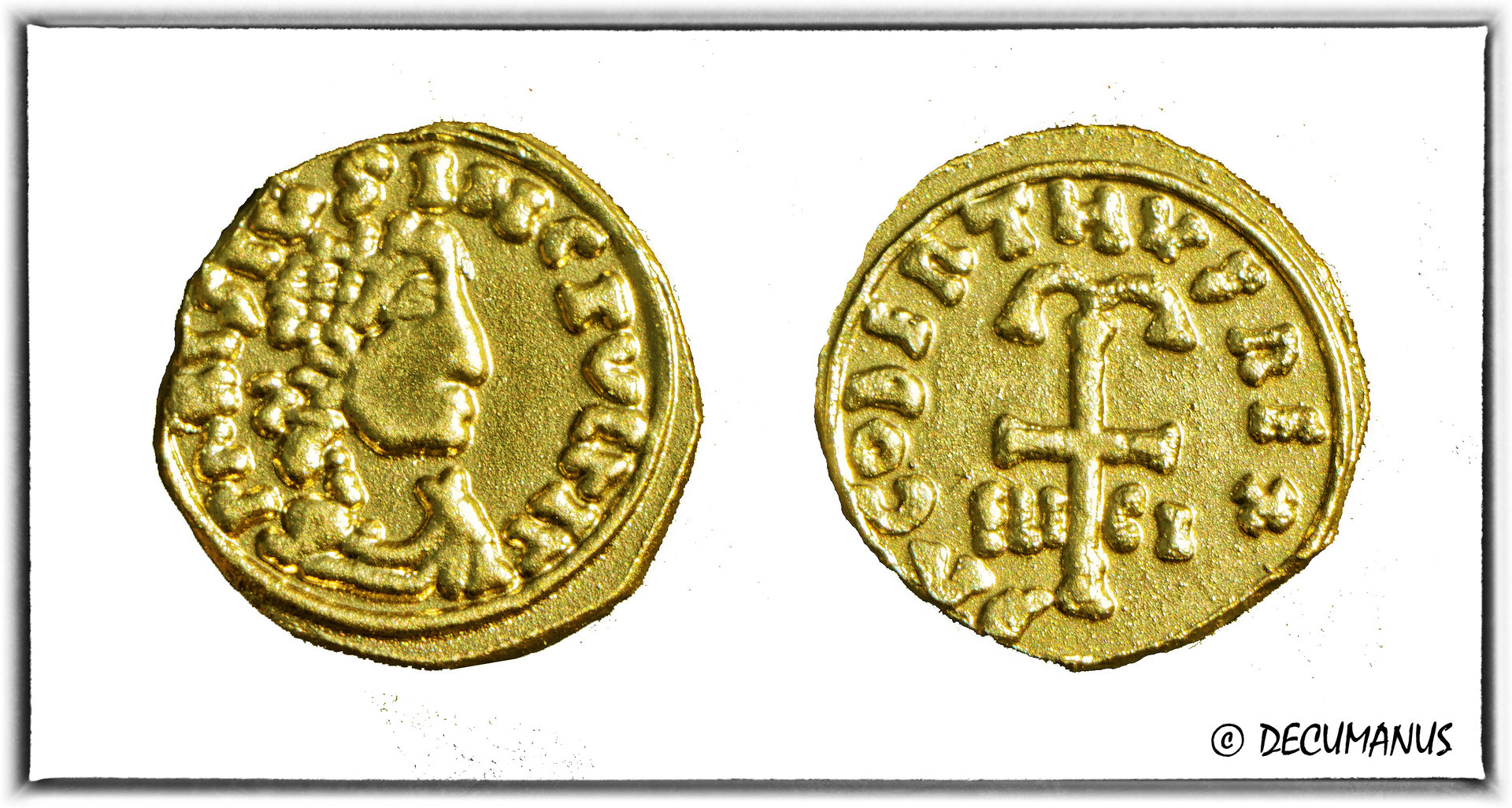 THIRD OF GOLDEN CURRENCY OF DAGOBERT IRST WITH THE ANCHORED CROSS - REPRODUCTION