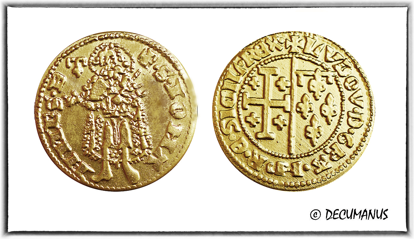 GOLD FLORIN OF LOUIS II OF PROVENCE (1369-1370) - REPRODUCTION OF MIDDLE-AGES