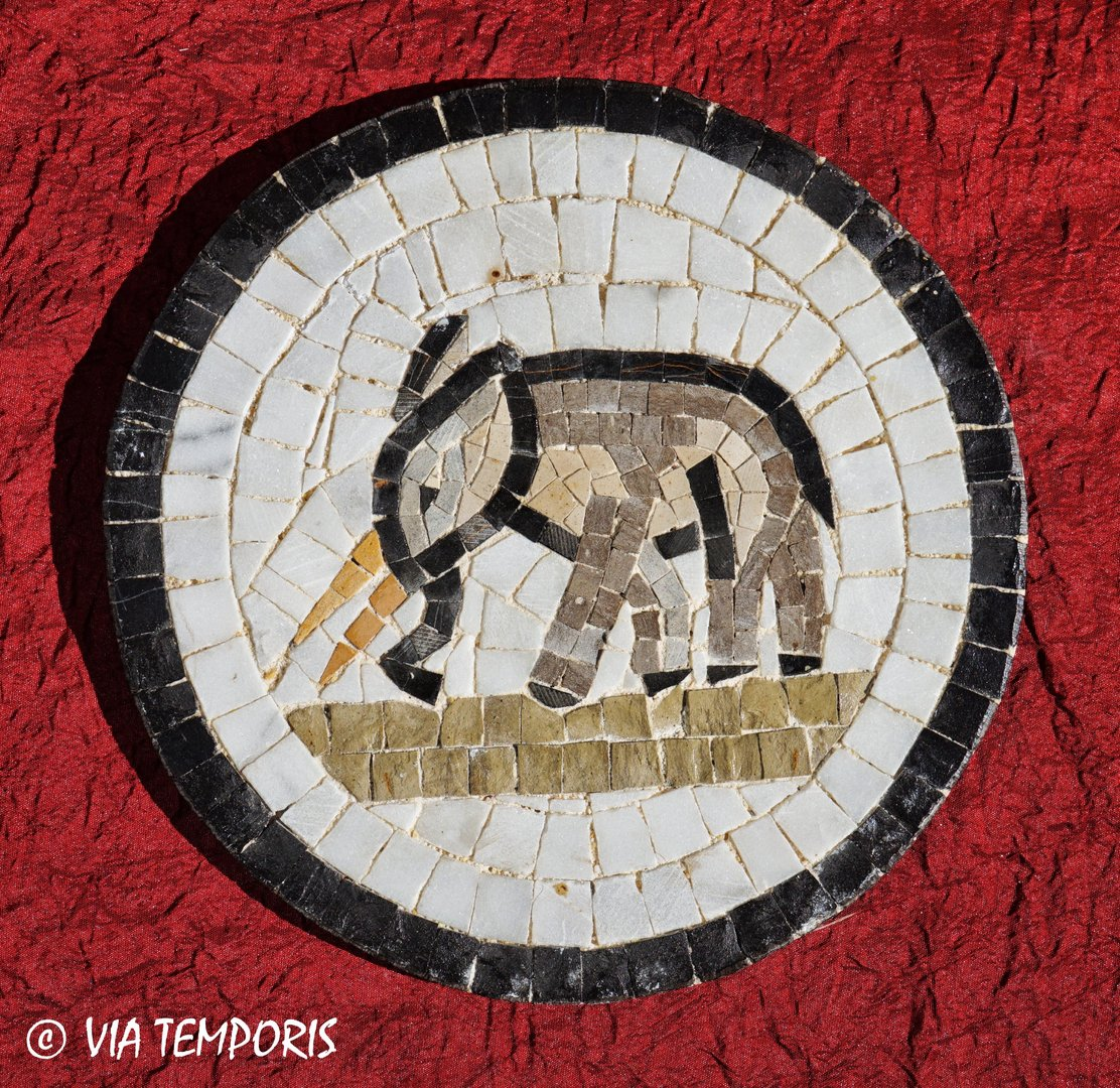 ROMAN MOSAIC - SMALL MEDALLION WITH AN ELEPHANT
