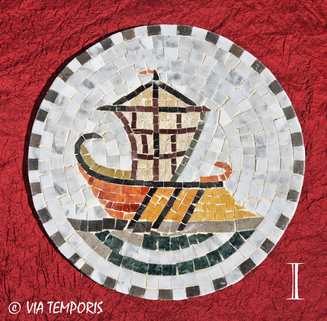 ROMAN MOSAIC - MEDALLION WITH A SHIP