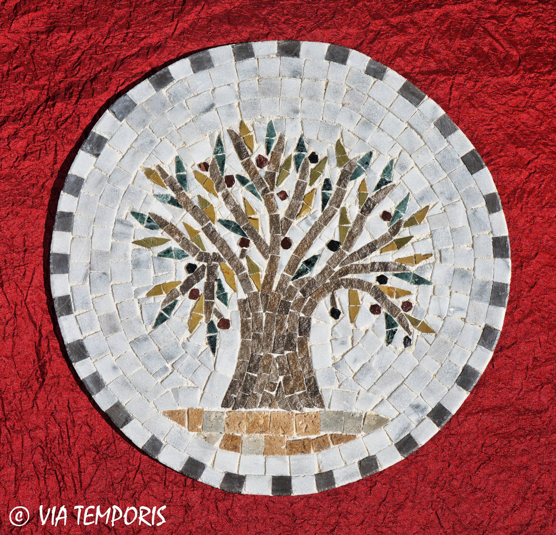 ROMAN MOSAIC - MEDALLION WITH THE OLIVE TREE
