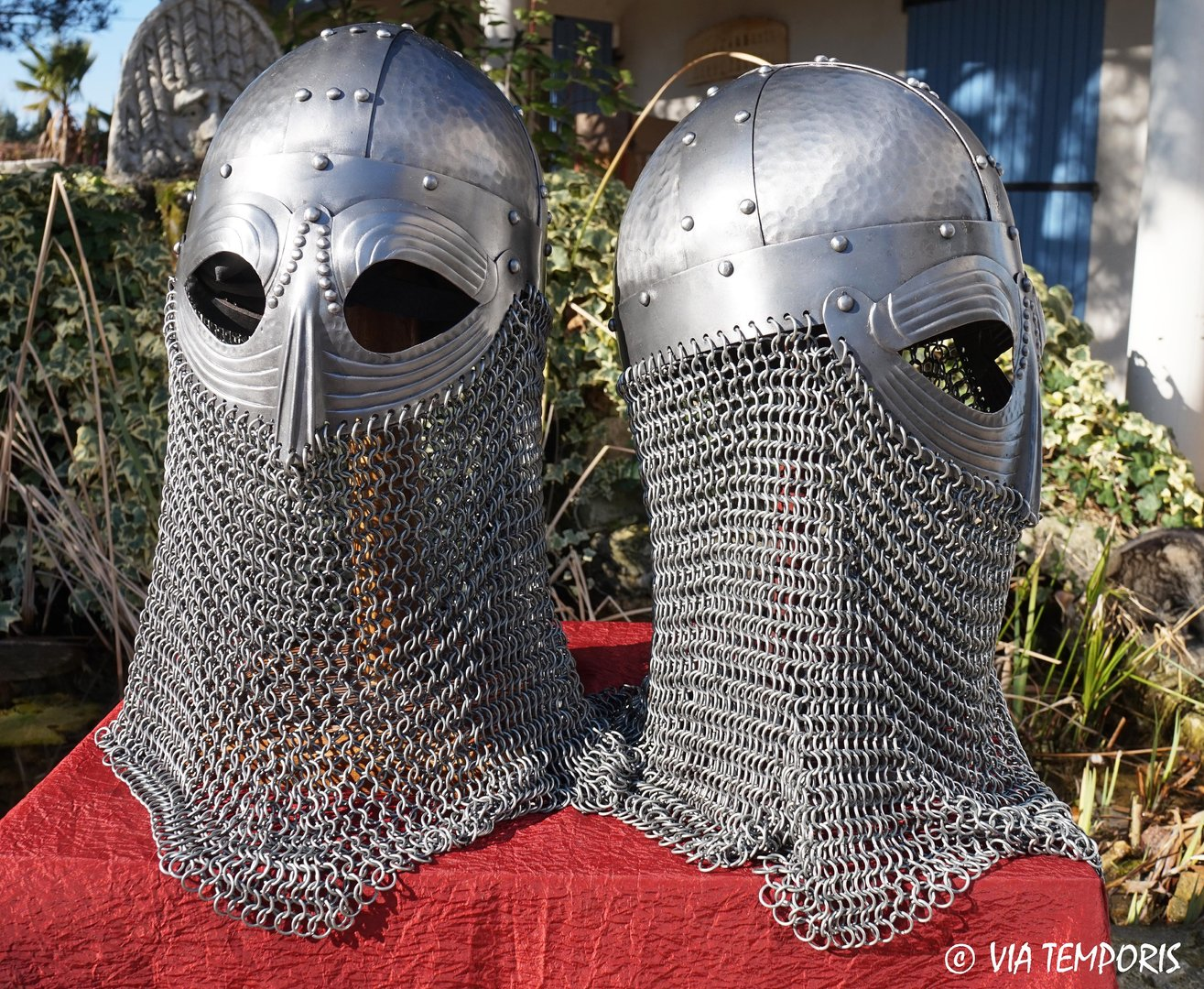 VIKING HELMET WITH EYE GUARD AND CHAINMAIL NECK PROTECTION