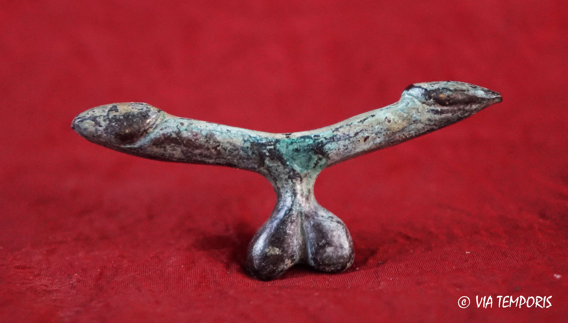TRIPLE BRONZE PHALLUS WITH GREEN PATINA