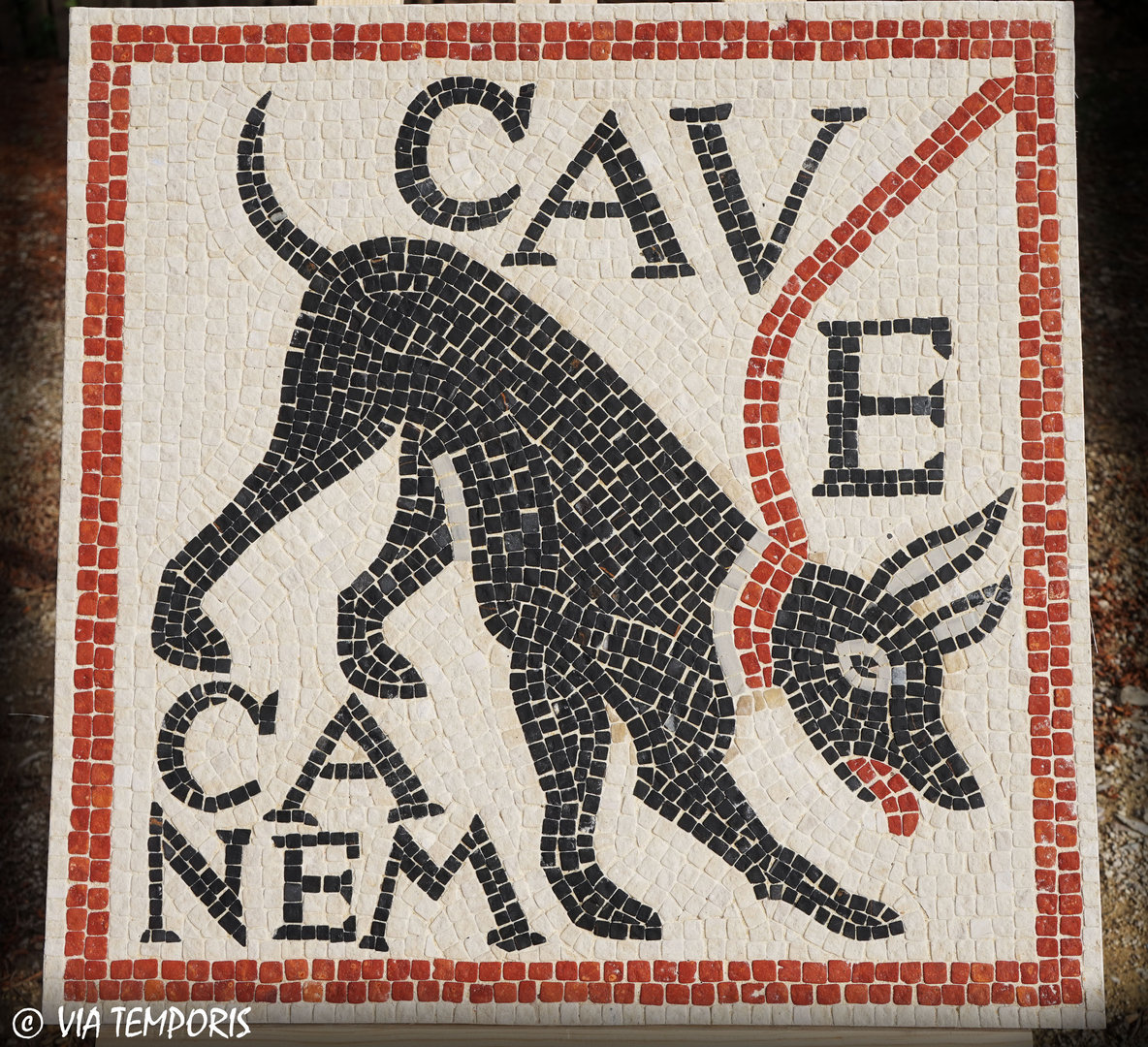 ROMAN MOSAIC - DOG ON LEASH - CAVE CANEM