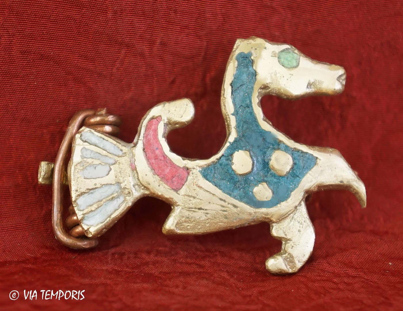 ANCIENT JEWERLY - ENAMELLED FIBULA WITH MARINE HORSE