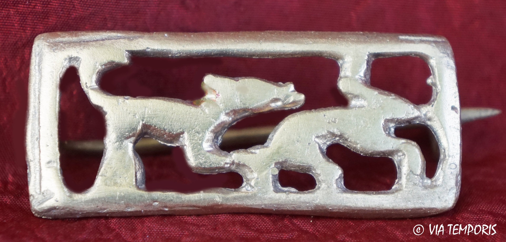 ANCIENT JEWERLY - FIBULA WITH DOG ATTACKING A HARE II