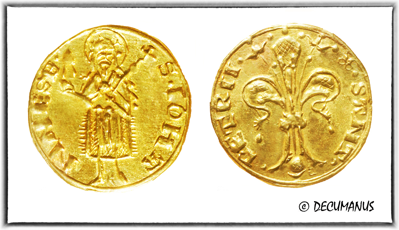 GOLD FLORIN OF URBAN V - POPE OF AVIGNON - REPRODUCTION OF MIDDLE-AGES
