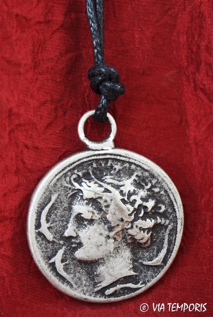 ANCIENT JEWERLY - ROMAN PENDANT WITH SYRACUSE COIN