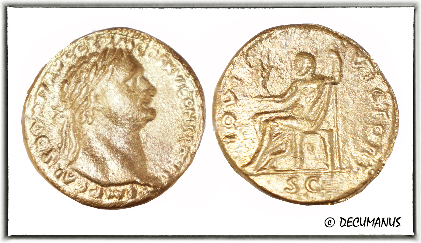 BRONZE SESTERCE OF DOMITIAN - REPRODUCTION