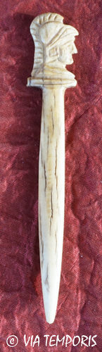ROMAN BONE HAIRPIN OR STYLUS - HEAD OF MINERVA AT RIGHT 3