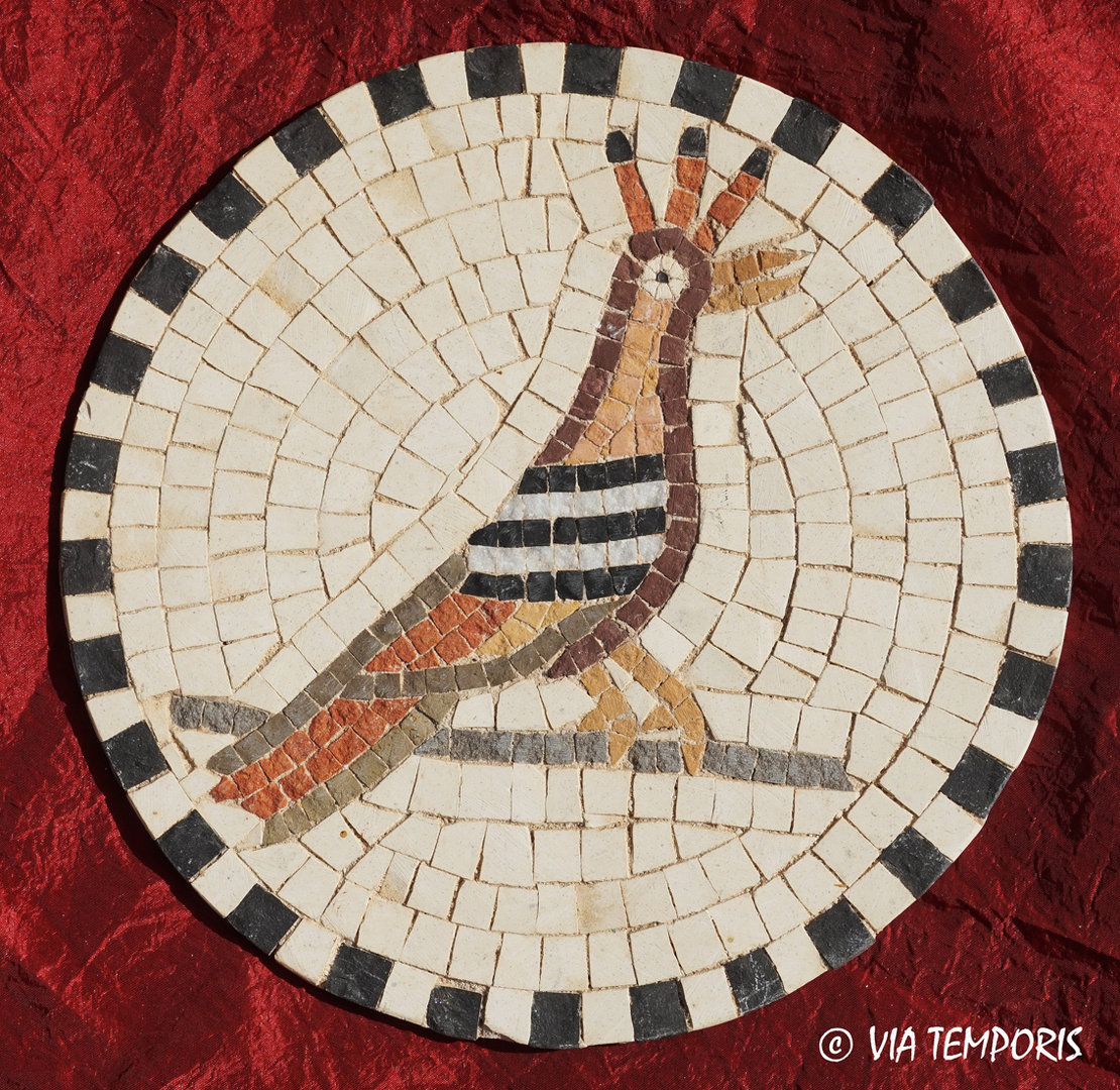 ROMAN MOSAIC - SMALL MEDALLION WITH A WOODPECKER