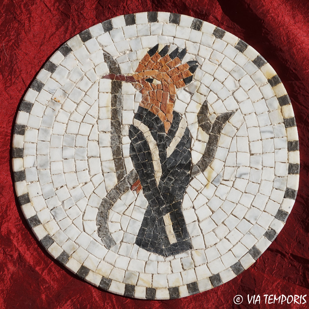 ROMAN MOSAIC - MEDALLION WITH A WOODPECKER