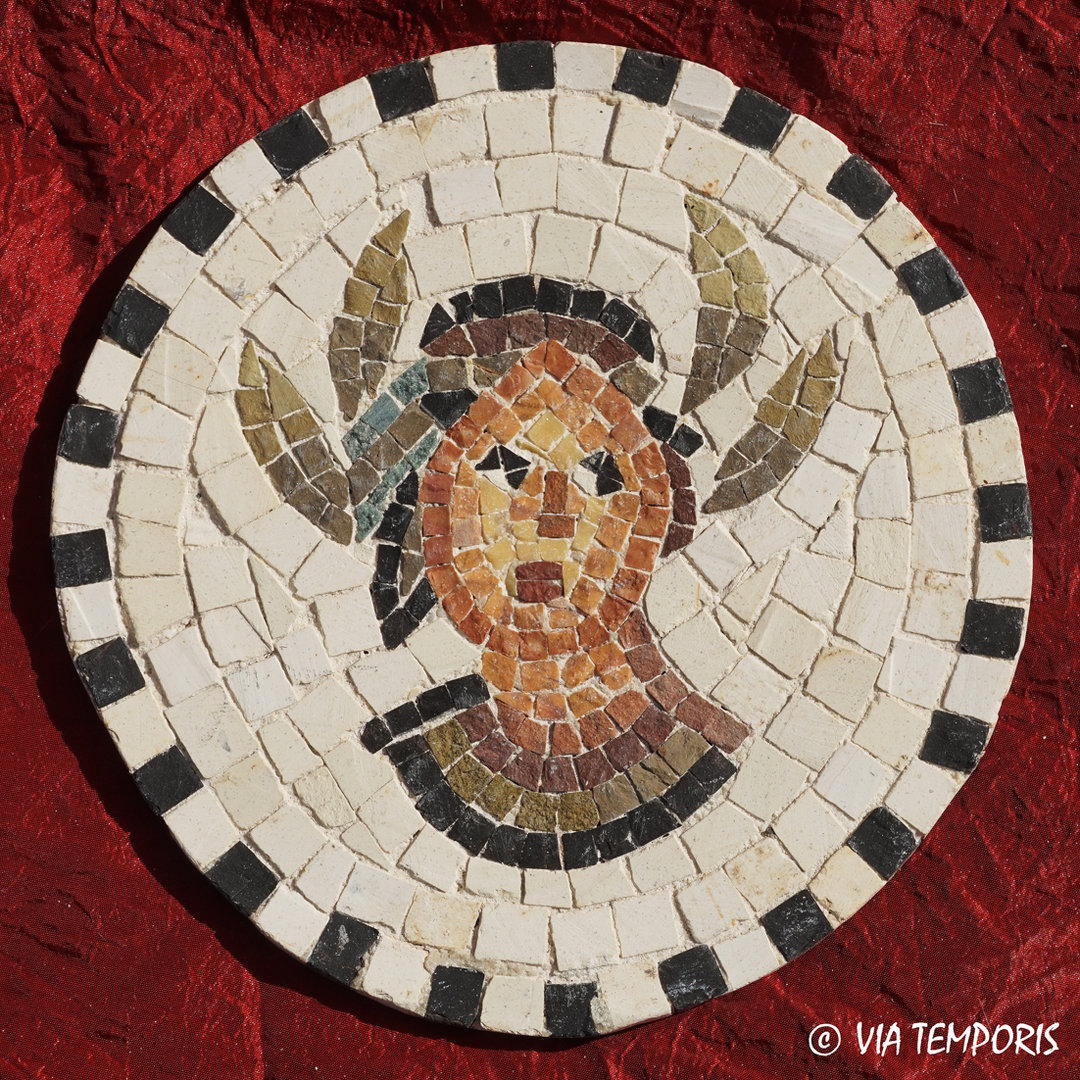 ROMAN MOSAIC - SMALL MEDALLION WITH SEASONED HEAD PERSONIFIED