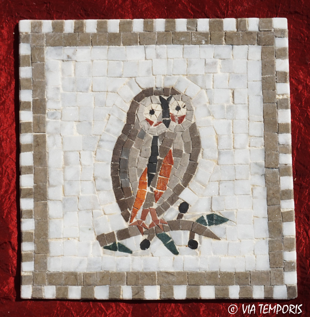 ROMAN MOSAIC - SMALL MEDALLION WITH OWL