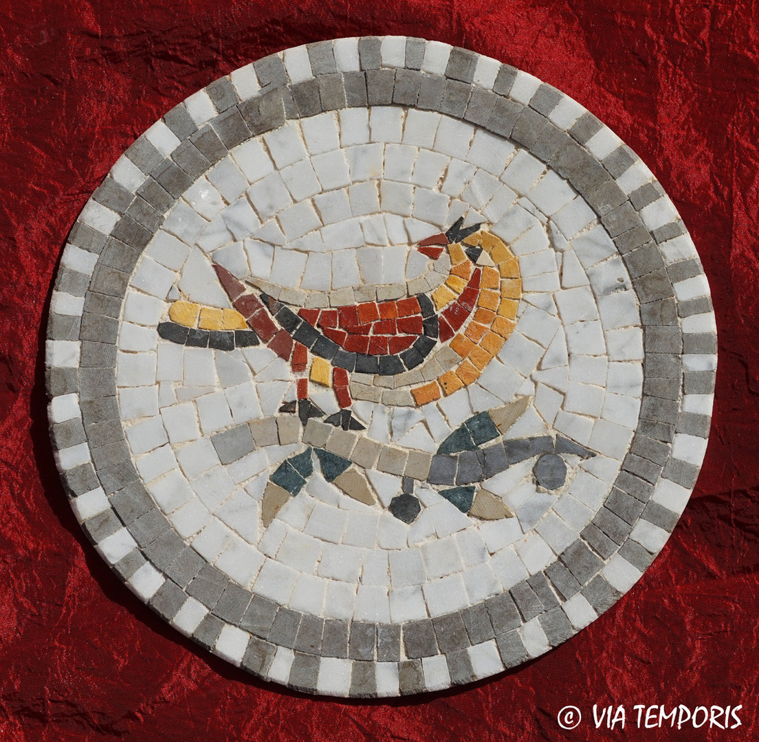 ROMAN MOSAIC - SMALL MEDALLION WITH A SPARROW