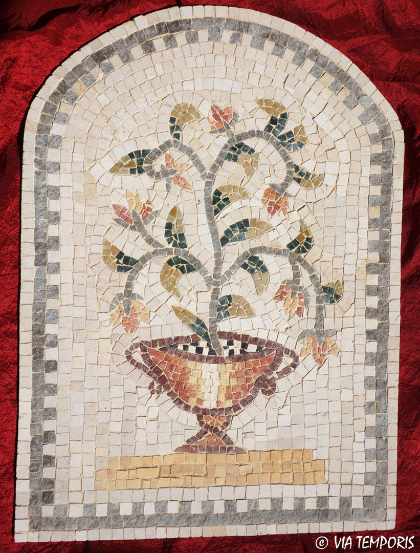 ROMAN MOSAIC - MEDALLION WITH FLOWERS IN A VASE