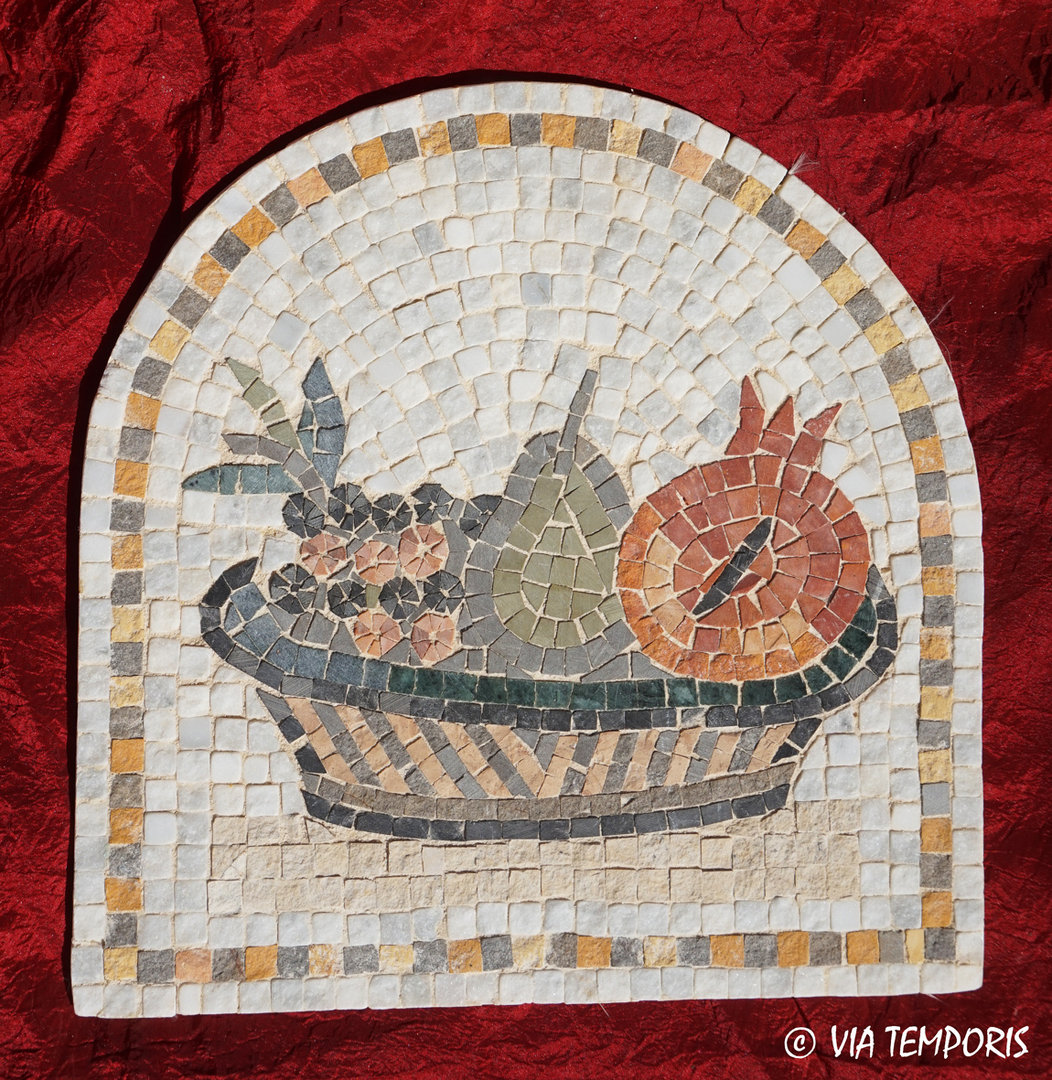 ROMAN MOSAIC - BASKET WITH FRUITS AND FLOWERS
