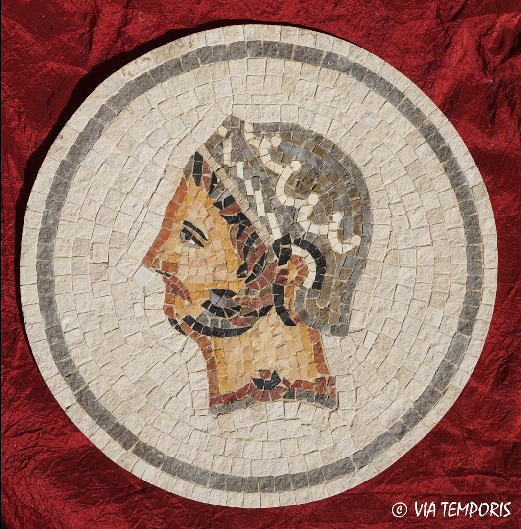 ROMAN MOSAIC - MEDAILLON WITH THE HANNIBAL HEAD