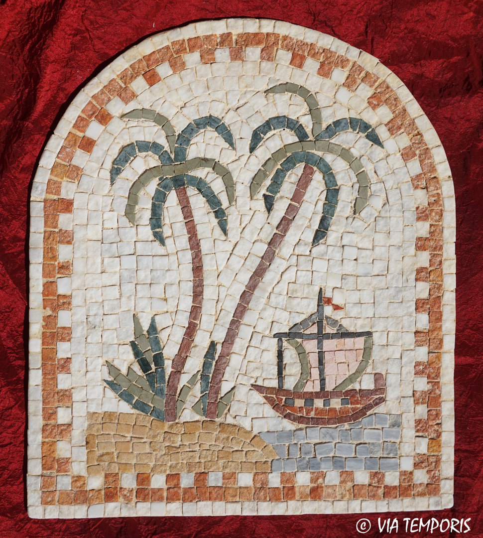 ROMAN MOSAIC - MEDALLION WITH AN ISLAND AND A SHIP