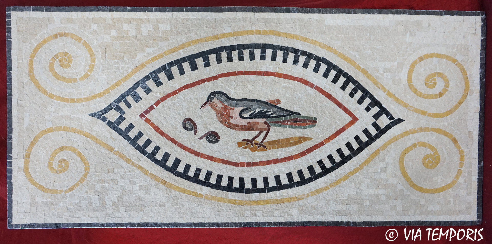 ROMAN MOSAIC - MOSAIC WITH A BIRD OF THE VILLA AFRICA - EL JEM