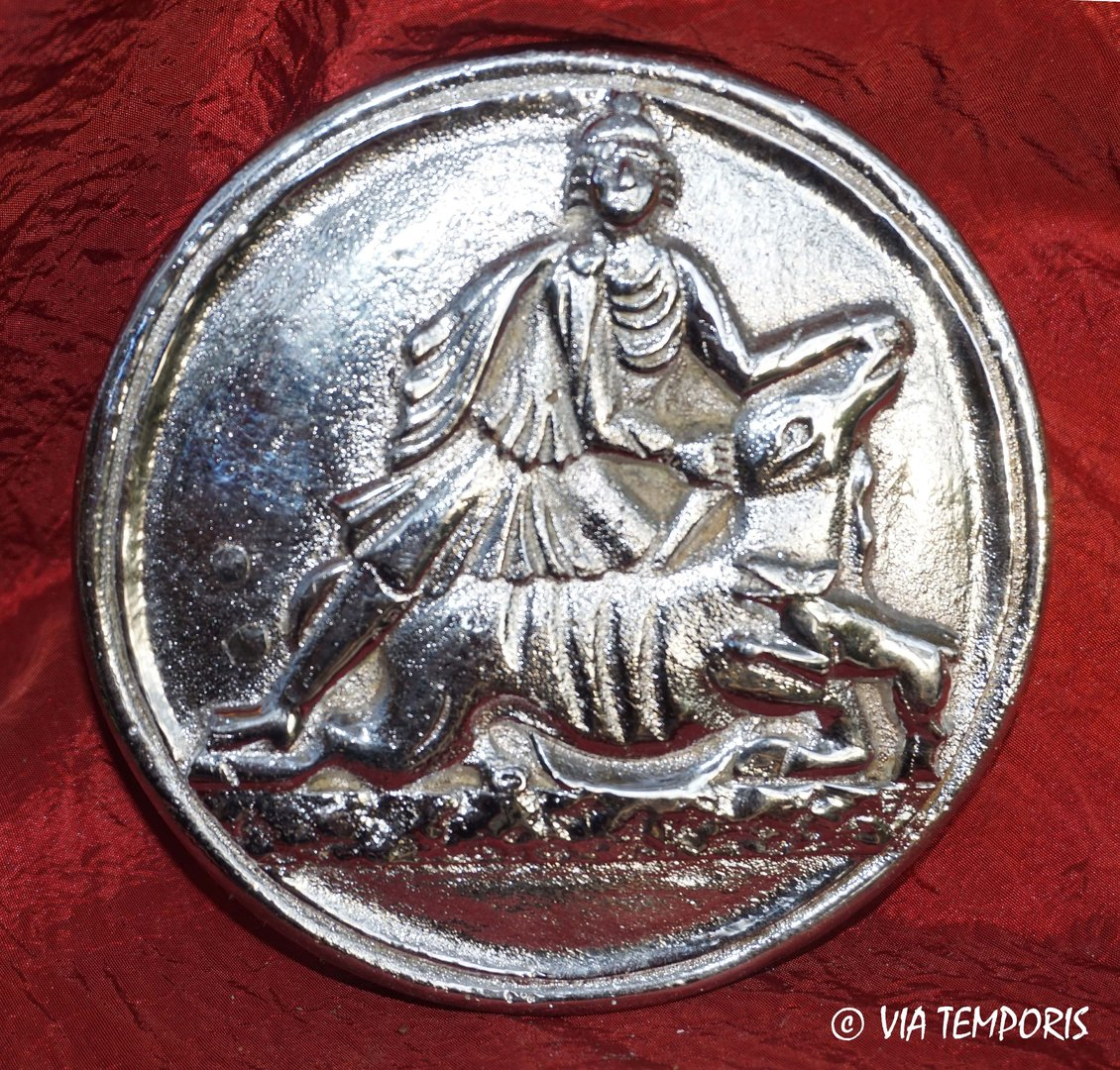 SILVER PLATED PHALERA WITH DECOR OF GOD MITHRA SLAYING THE BULL