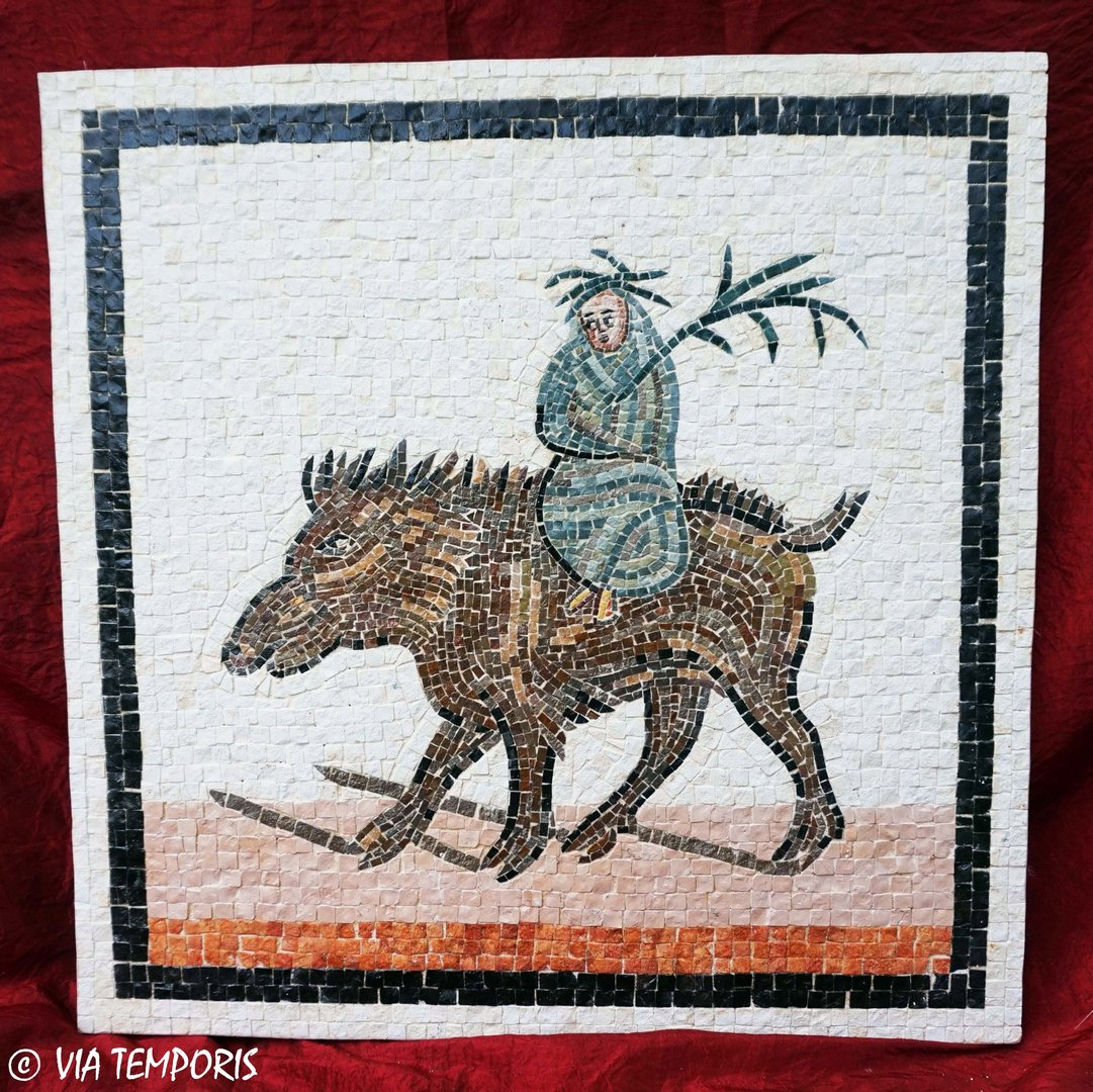ROMAN MOSAIC - RUSTIC CALENDAR OF ST-ROMAIN-EN-GAL - WINTER ON A BOAR