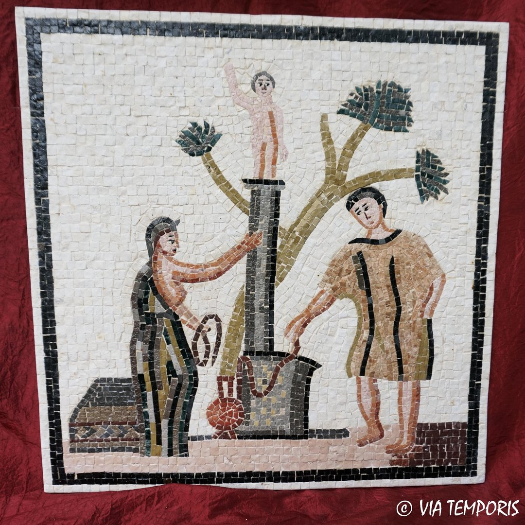 ROMAN MOSAIC - CALENDAR OF ST-ROMAIN-EN-GAL - SACRIFICE TO THE GOD TARANIS