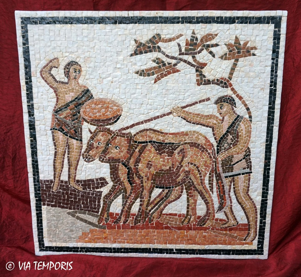 ROMAN MOSAIC - RUSTIC CALENDAR OF ST-ROMAIN-EN-GAL - AUTUMN PLOWING AND SOWING