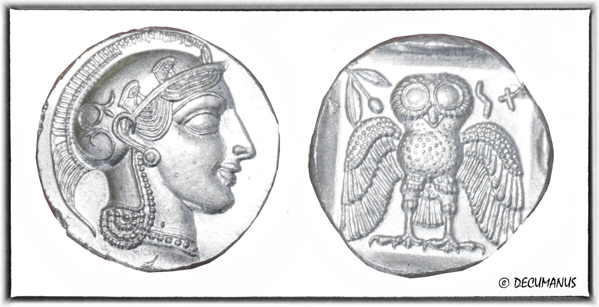 DEKADRACHM OF ATHENS WITH THE OWL (5th c B.C.) - REPRODUCTION OF ANCIENT GREECE