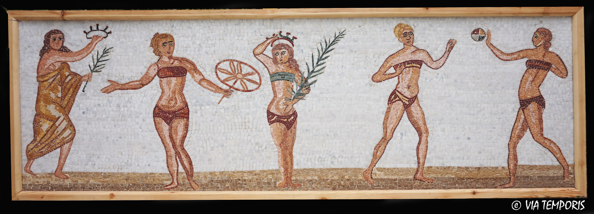 ROMAN MOSAIC - MOSAIC WITH ATHLETIC WOMEN IN BIKINI - CASALE VILLA, SICILY
