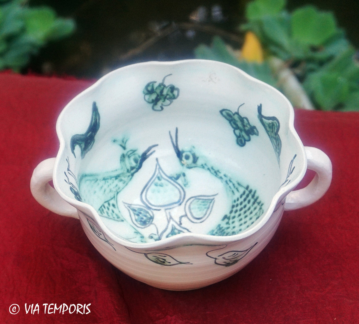 MEDIEVAL CERAMIC - MULTI-LOBED CUP WITH PEACOCKS DECOR